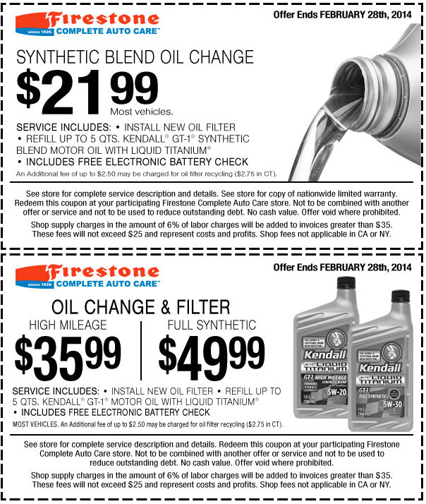 Full Synthetic Oil Change >> 49 99 Full Synthetic Oil Change Coupon Firestone Cheap Oil