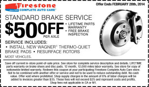 Firestone brake coupon - February 2014