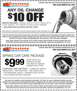 Firestone oil change coupon - $10 Off