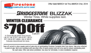 Bridgestone Blizzak Winter Tires Installation Coupon