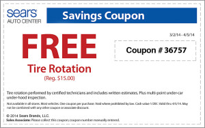 Free tire rotation coupon from Sears