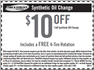 10 Off Synthetic Oil Change Plus Free Tire Rotation Cheap Oil