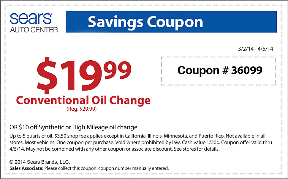 Auto oil changers coupons