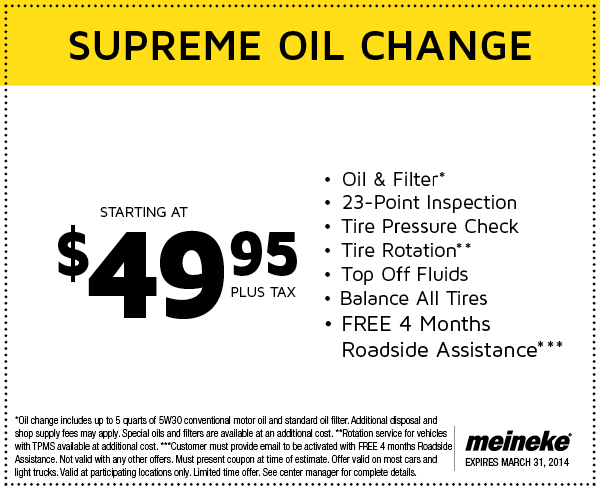 Discount on oil change coupons