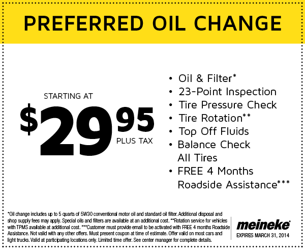 Discounted oil change coupons