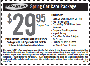 Goodyear Spring Car Care Package With Oil Change Coupon Cheap Oil