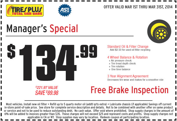 Tires and alignment coupons