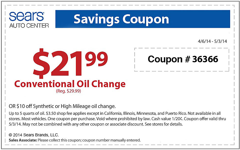 Sears Oil Change Coupons - Printable Coupon Code $10 off Get Deal sears oil change coupons Find all the latest coupons and deals for the Sears Auto Center at this giveback.cf can save almost $10 off your oil change, but there are many other coupons available as well.