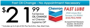 Chevron_Full Service Oil Change - $21.99