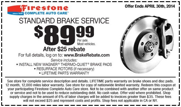 How to use a Firestone coupon Firestone Complete Auto Care features a section on its website dedicated to offers and rebates. Firestone offers specials on buying new tires, maintenance services and oil changes. Discounts range from 10%% off. The online store runs seasonal promotions for Black Friday, Christmas and New Year's Day%().