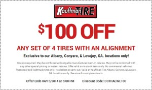 Kauffman Tire_100 Kauffman Tire Coupon w Wheel Alignment