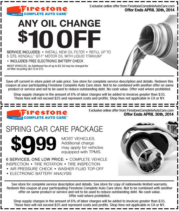 $10 f any Firestone Oil Change Cheap Oil Change Coupons