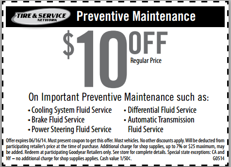 Goodyear auto service oil change coupons