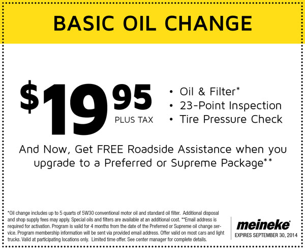 Meineke Oil Change >> 19 99 Basic Oil Change Cheap Oil Change Coupons