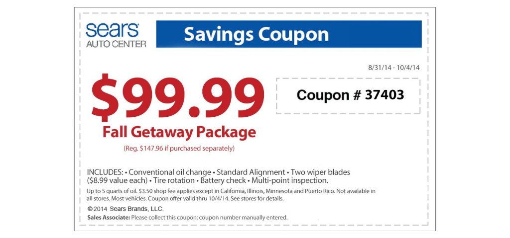 picture relating to Sears Auto Printable Coupons named Sears Oil Distinction Discount codes