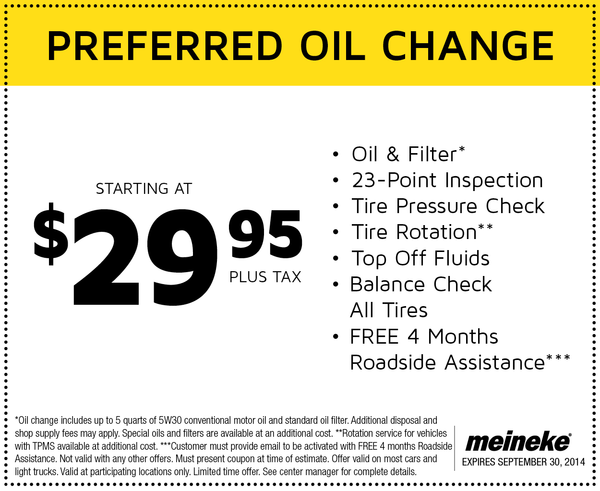 Synthetic Oil Change Coupons >> Meineke $29.95 Preferred Oil Change - Cheap Oil Change Coupons