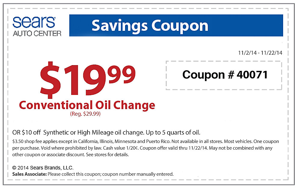 Firestone oil change coupon october 2018