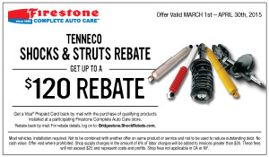 Tenneco Shocks and Struts Rebate
