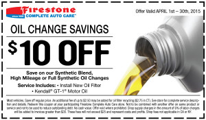 Firestone Synthetic Blend oil change coupon - April 2015