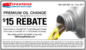 Firestone oil rebate - high mileage oil - May 2015
